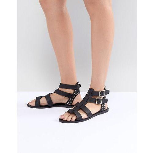 New Look Leather Look Gladiator Flat Sandal - Black, kolor czarny
