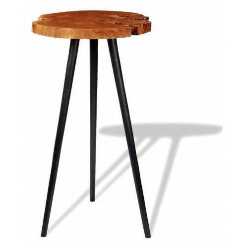 Okrągły stolik plastry drewna – matel 2x marki Elior