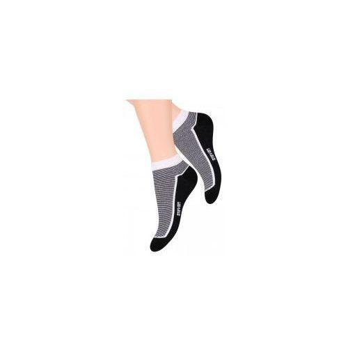 Stopki Damskie Skarpetki biel/czerń, kolor biały