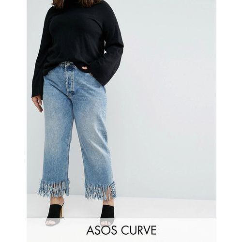 ASOS CURVE Authentic Straight Leg Jeans In Oxford Wash with Fringed Hem - Blue