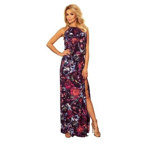 594a753941 Maxi Sukienka Wiązana na Szyi w Kwiaty - Fioletowa