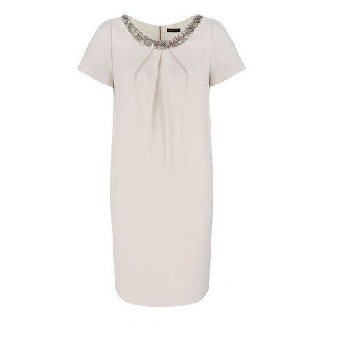 Sukienka 6054 (Kolor: kremowy, Rozmiar: 48), kolor beżowy
