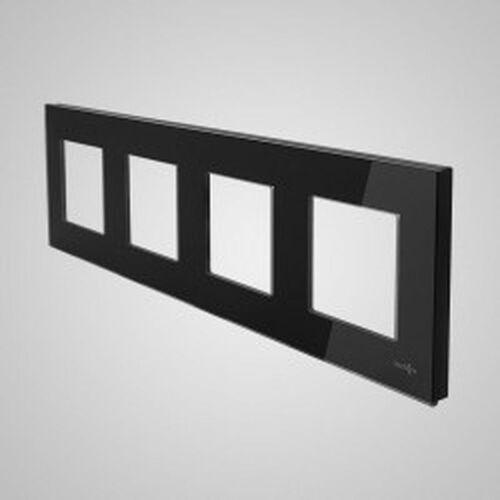 Els elektrotechnika sp. z o.o. sp. k. Touchme ramka poczwórna szklana czarna tm718b
