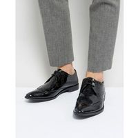 brogue derby shoes in patent leather - black, Frank wright