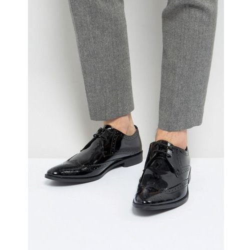 Frank Wright Brogue Derby Shoes In Patent Leather - Black