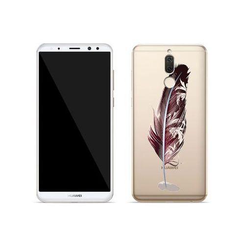 Huawei Mate 10 Lite - etui na telefon Crystal Design - Bordowe pióro, kolor czerwony