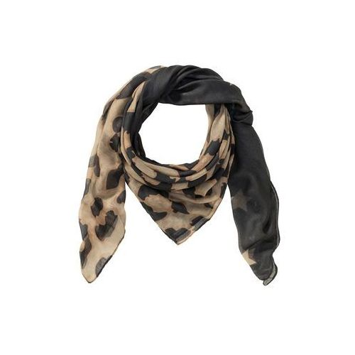 Chusta w cętki leoparda czarno-matowa wielbłądzia wełna - jasnobrązowy marki Bonprix
