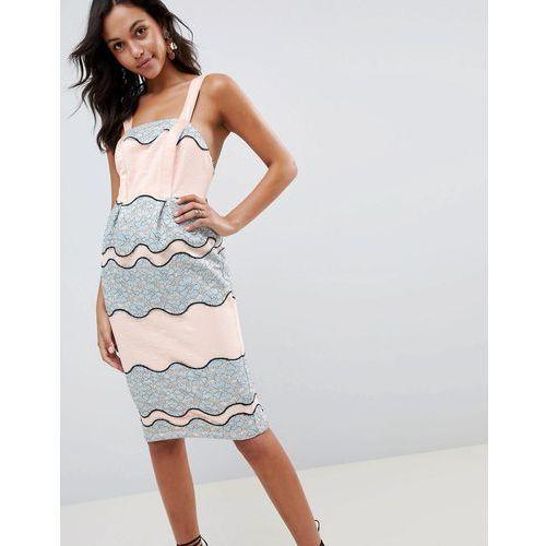 ASOS DESIGN premium lace pencil midi dress with tulip hem - Multi