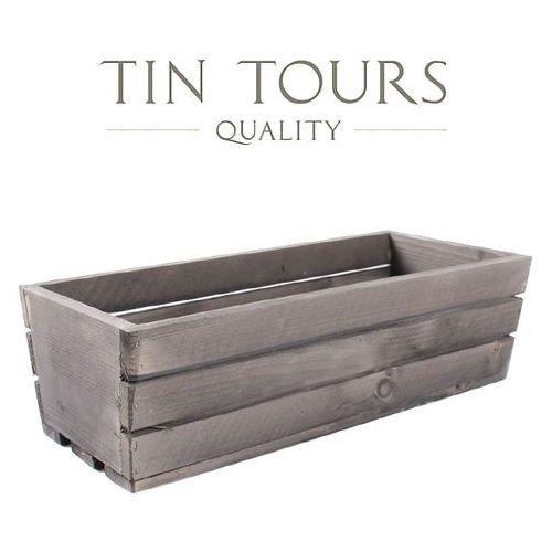 Szara skrzynka drewniana 70x18x15 cm marki Tin tours sp.z o.o.