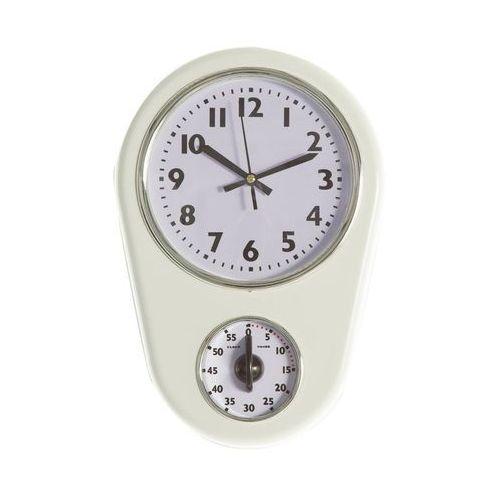 Dekoria zegar ścienny retro white z minutnikiem 21,5x6x31,5cm, 21,5 × 6 × 31,5 cm