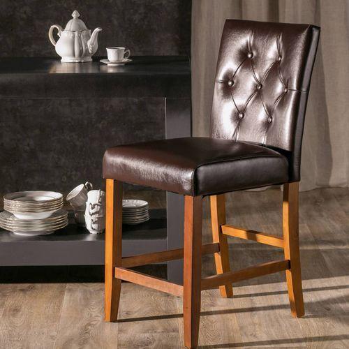 Dekoria Krzesło barowe Langley Brown Leather wys. 100cm -50%, 48 × 51 × 100 cm