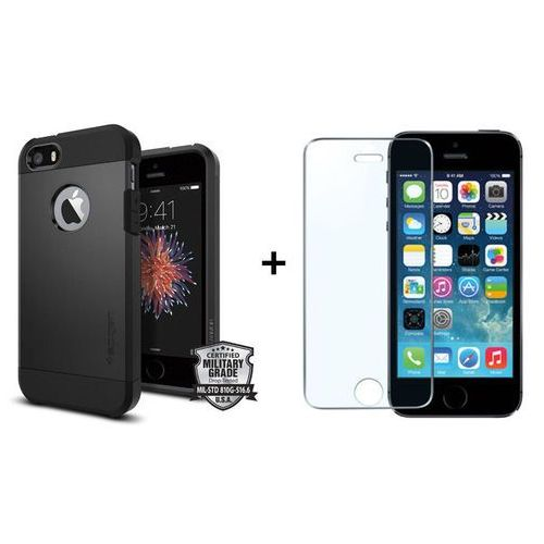 Zestaw | SGP - Spigen Tough Armor Czarny + Szkło ochronne Perfect Glass | Pancerna obudowa dedykowana dla modelu Apple iPhone 5 / 5S / SE
