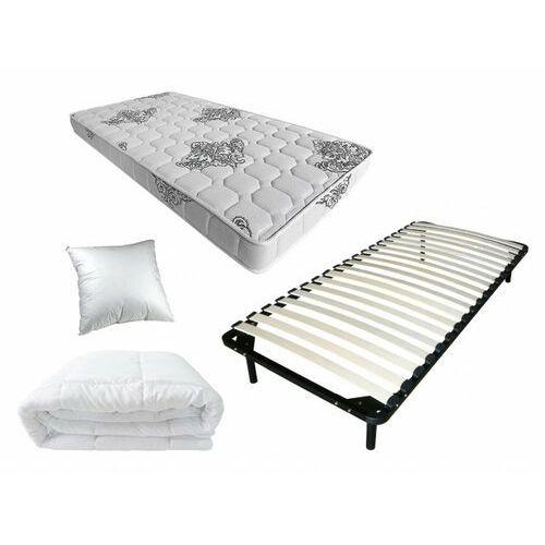 Zestaw do spania jovial 90x190 cm - rama listewkowa + materac piankowy + kołdra + poduszka marki Dreamea