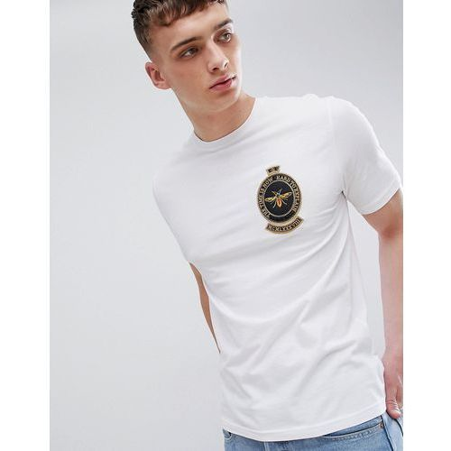 slim fit t-shirt with wasp embroidery in white - white marki River island