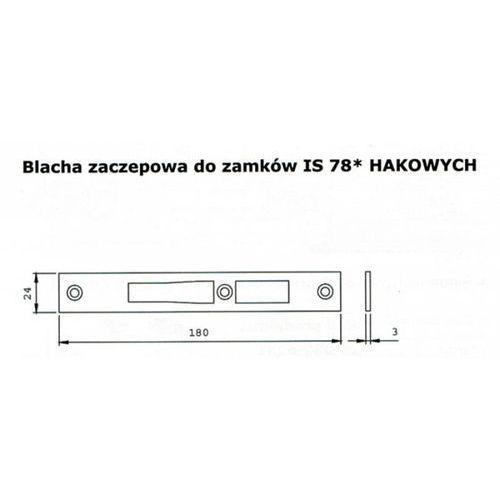 Iseo Zaczep do zamków 78* hakowych is-038-033 180x24x3 inox