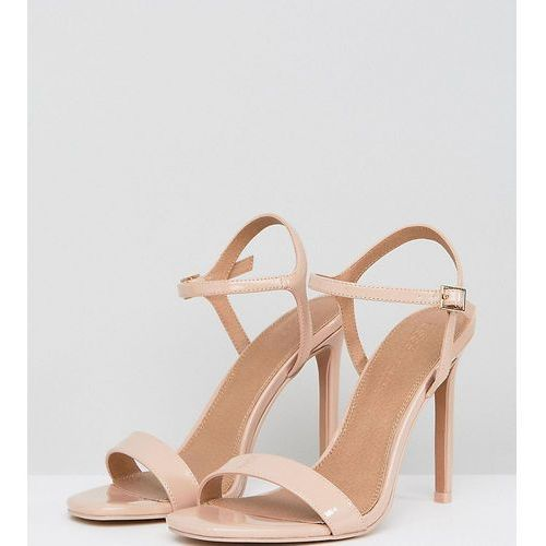 ASOS DESIGN Wide Fit Hands Down barely there heeled sandals - Beige