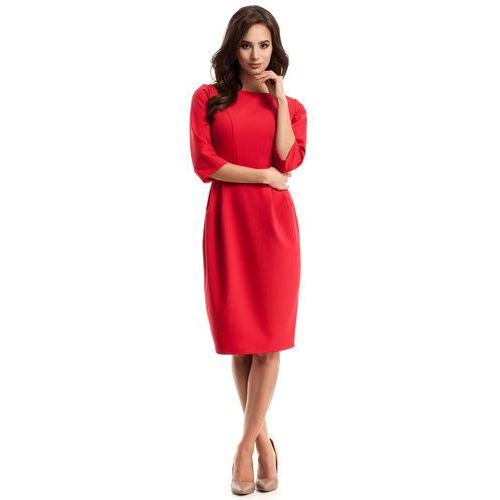 Elegancka sukienka midi z zakładkami czerwona 277 marki Moe