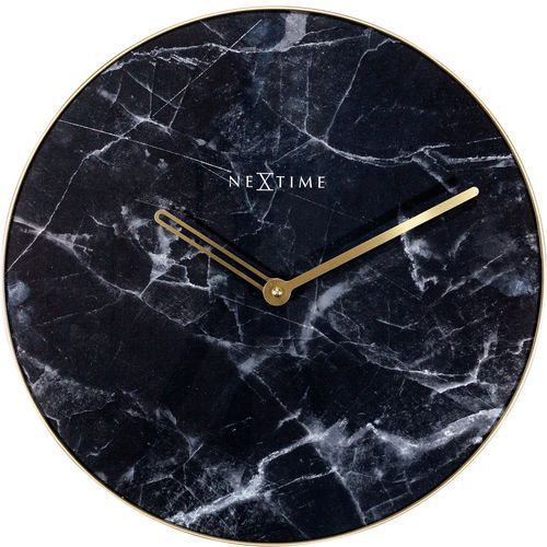 Nextime Zegar ścienny marble czarny 40 cm (8189 zw)