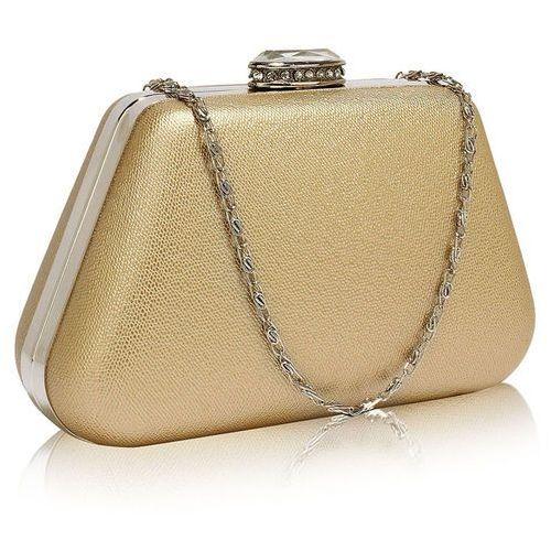 Złota torebka wizytowa na wesele z kryształowym zamknięciem - złoty marki Wielka brytania