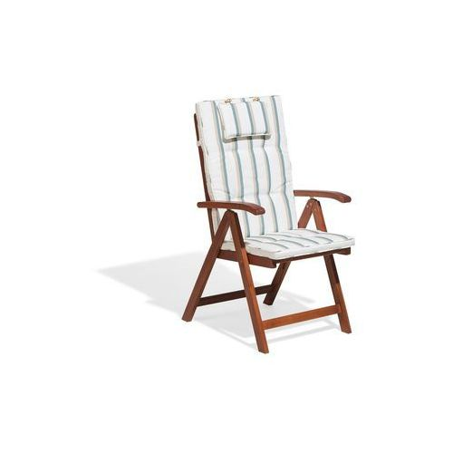 Beliani Krzesło ogrodowe drewniane poducha beżowo-zieolone paski toscana