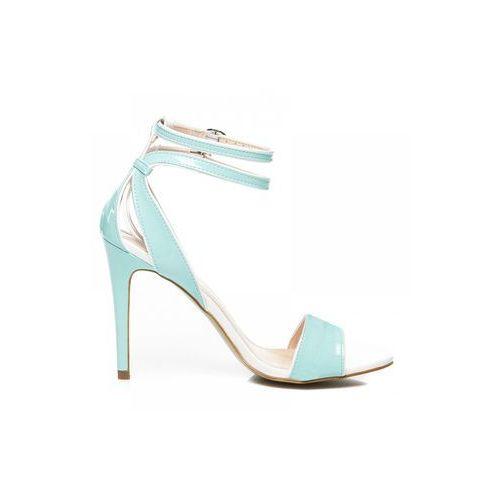 Zoki Lakierowane sandały na szpilce niebieski