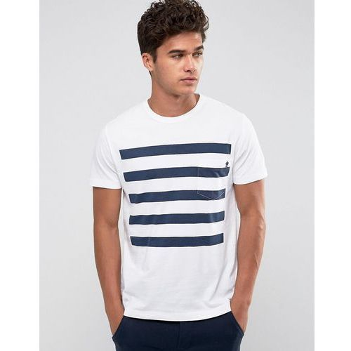 5 stripe gradient t-shirt with pocket - white marki French connection