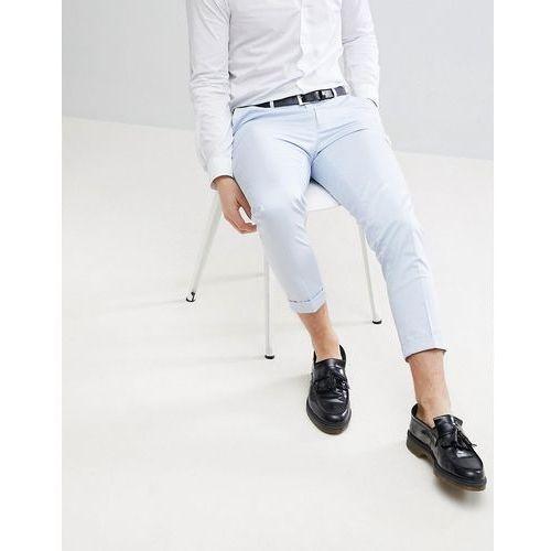 wedding skinny crop smart trousers in light blue cotton sateen - blue marki Asos design