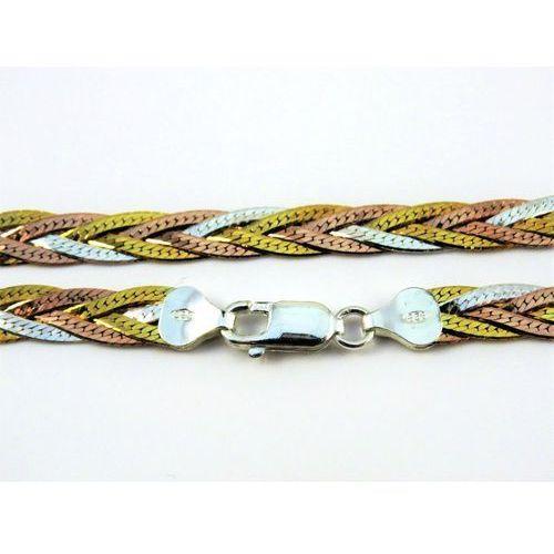 Megasilver Trzykolorowy srebrny łańcuszek warkocz 50 cm