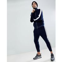 tracksuit track jacket in velour with poly tricot panel/ skinny crop joggers - navy, Asos, XXS-XXXL