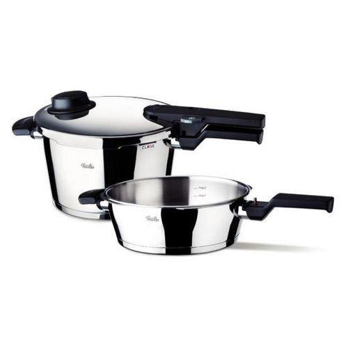 Fissler Vitavit Comfort - Szybkowar 4,5 l, patelnia 2,5 l bez wkładu do gotowania na parze - 4,50 l + 2,50 l