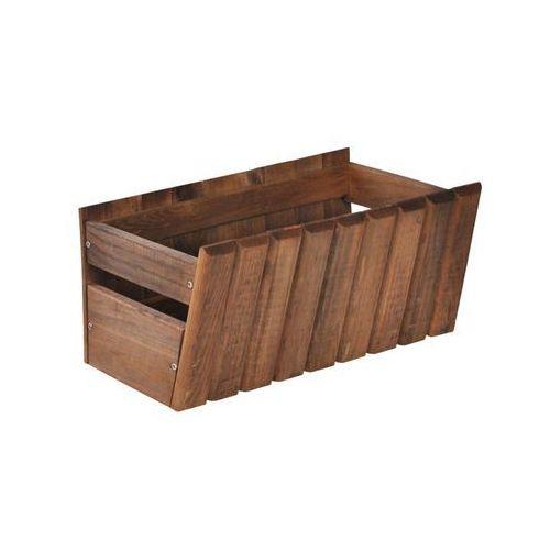 Donica / skrzynka balkonowa 40 x 20 cm drewniana brązowa STOKROTKA SOBEX (5908235381794)