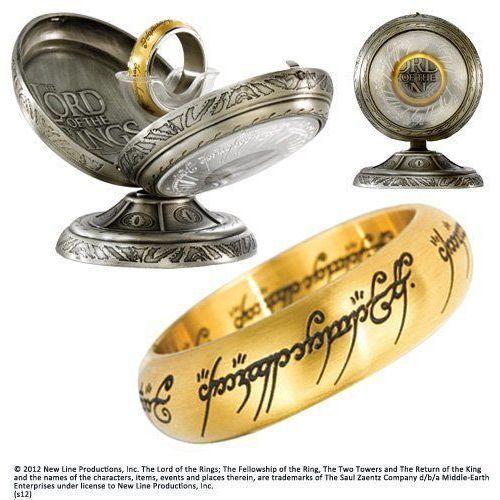 Jedyny pierścień z filmu władca pierścieni - one ring stainless steel - gold colour (nn1315_06) marki The noble collection