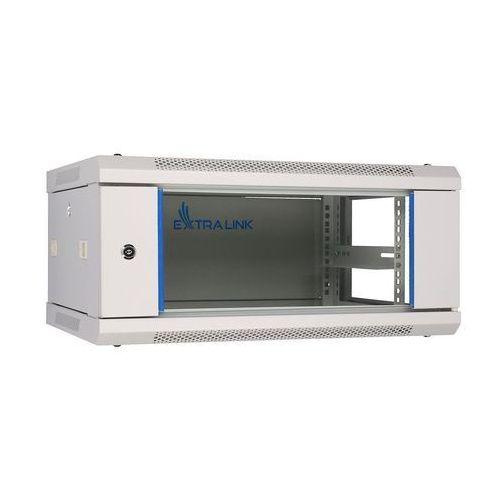 Extralink Szafka wisząca rack 4U 600x450 szara szklane drzwi, 1_655373