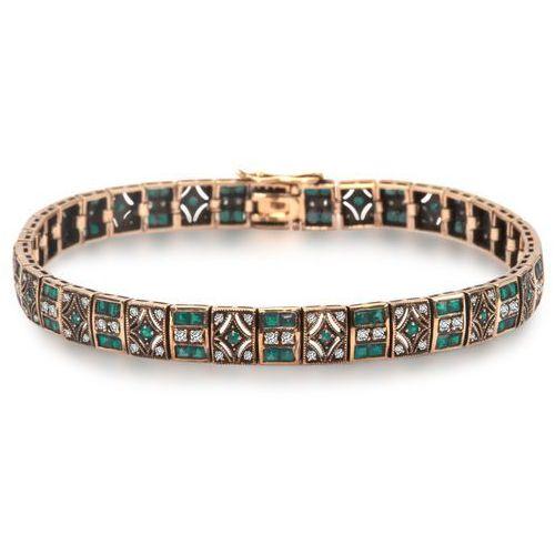 Kolekcja wiktoriańska - złota bransoletka z diamentami i szmaragdami marki Biżuteria yes