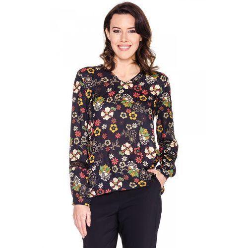 Granatowa bluzka koszulowa w kwiaty - Bialcon, kolor czarny