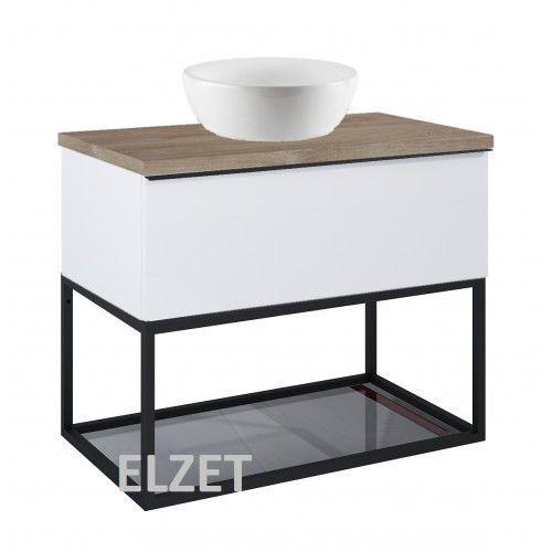ELITA szafka Look 1S white matt pod umywalkę nablatową + szklana półka + uchwyt czarny + blat 80 dąb classic 167594+167666+167516+166899, 167594.167666.167516.166899
