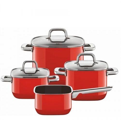 SILIT QUADRO RED 4cz. - zestaw garnków, silargan, indukcja, 2109299585
