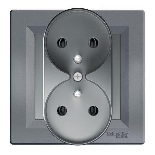 Gniazdo podwójne Schneider Electric Asfora z uziemieniem stal (3606481333087)
