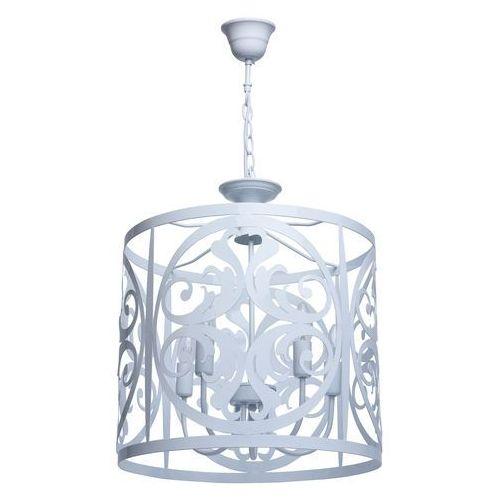 Biała ażurowa lampa sufitowa w rustykalnym stylu (249016905)