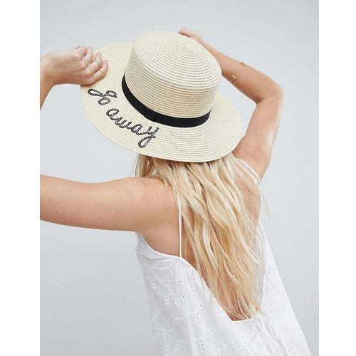 Asos straw boater with go away slogan and size adjuster - beige