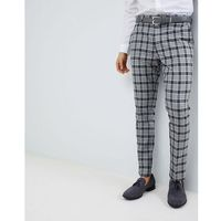 River Island Skinny Fit Smart Trousers In Grey And Black Check - Grey