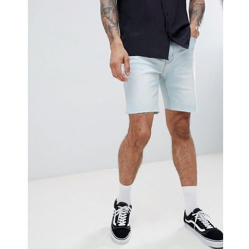 Pull&Bear Slim Fit Denim Shorts In Light Blue - Blue