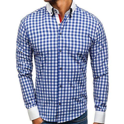 Koszula męska w kratę z długim rękawem niebieska 8807 marki Bolf