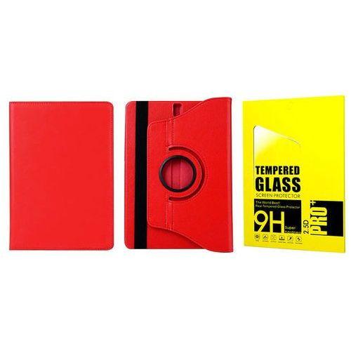 Etui obrotowe 360° Samsung Galaxy Tab S3 9.7 Czerwone + Szkło - Czerwony