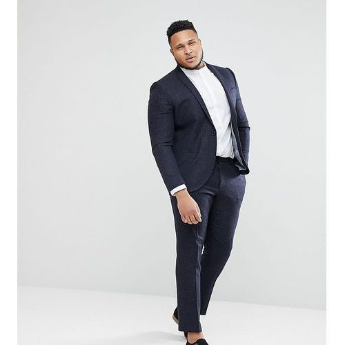 plus size skinny wedding suit trousers in grid check - navy marki Noak