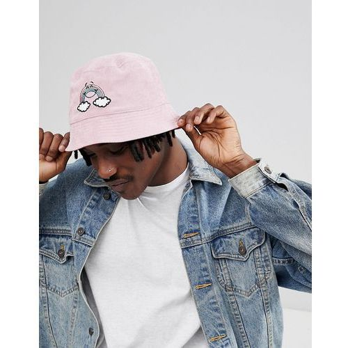 ASOS DESIGN Reversible Bucket Hat In Pink Cord With Rainbow Embroidery - Pink