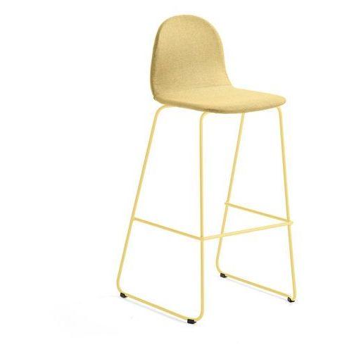 Krzesło barowe gander, płozy, siedzisko 790 mm, tkanina, musztardowy marki Aj produkty