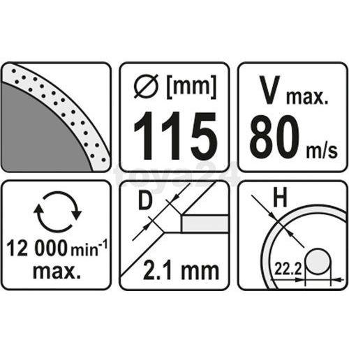 Tarcza diamentowa, segment ciągły, 115 mm Yato YT-6012 - ZYSKAJ RABAT 30 ZŁ