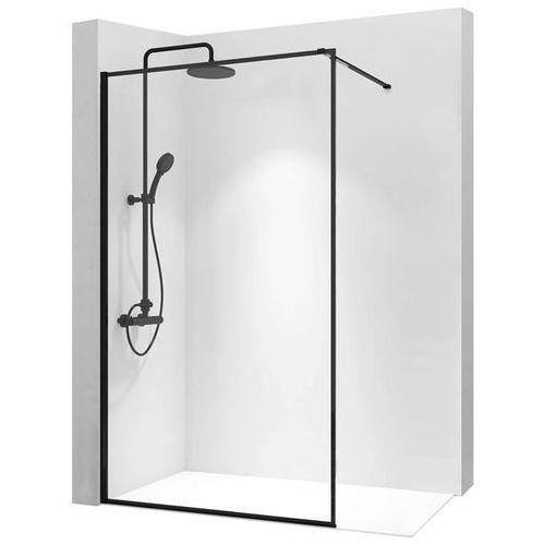 Rea Ścianka prysznicowa 80 cm z czarnym profilem bler (5902557337514)