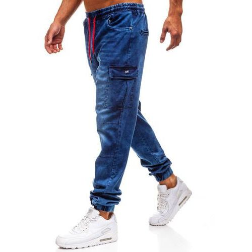 Spodnie jeansowe joggery męskie granatowe Denley Y231, kolor niebieski